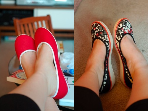 red-and-printed-shoes